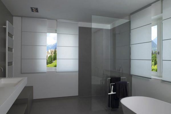 Flächenvorhänge in einem Badezimmer